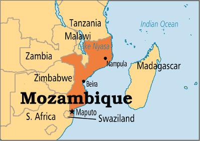 Mozambique Map, Southern Africa